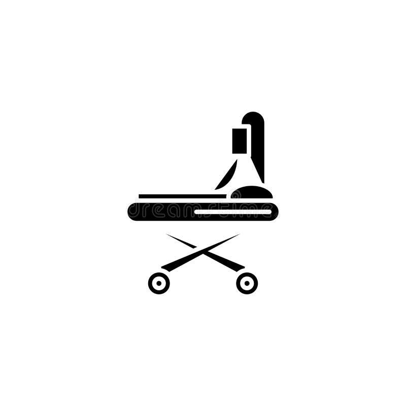 Zwart het pictogramconcept van de wielbrancard Het vlakke vectorsymbool van de wielbrancard, teken, illustratie stock illustratie