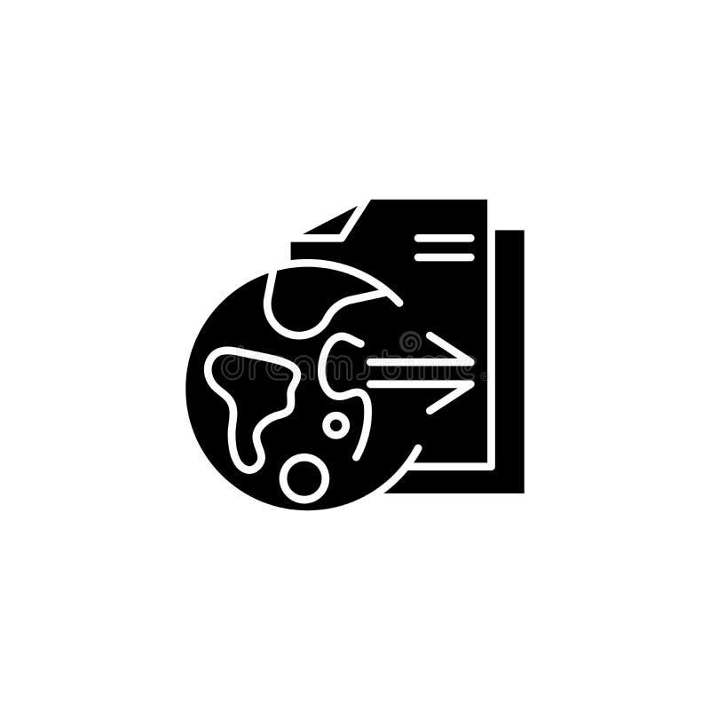 Zwart het pictogramconcept van onderzoekresultaten Het vlakke vectorsymbool van onderzoekresultaten, teken, illustratie vector illustratie