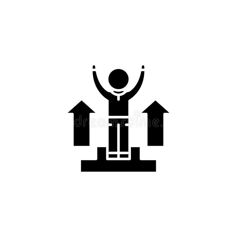 Zwart het pictogramconcept van Triumph Het vlakke vectorsymbool van Triumph, teken, illustratie stock illustratie