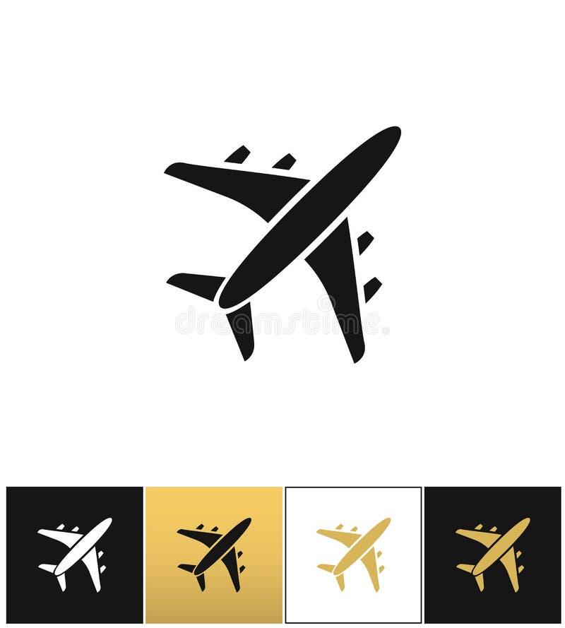 Zwart het silhouet vectorpictogram van het luchtvliegtuig stock illustratie