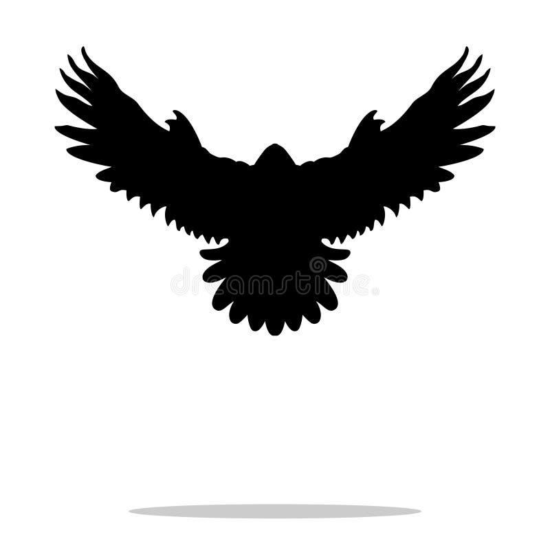 Zwart het silhouetdier van de valkvogel vector illustratie