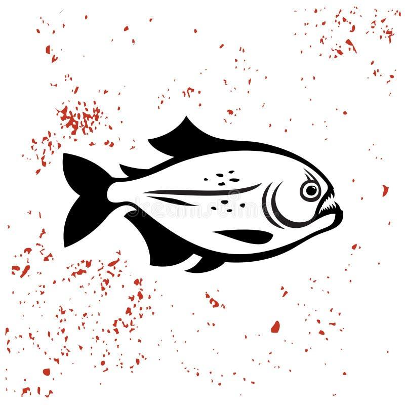 Zwart het silhouetembleem van piranhavissen vector illustratie