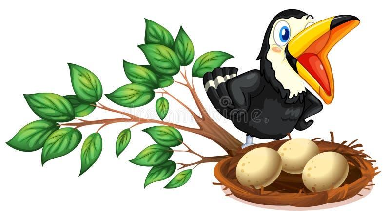 Zwart het vogelwaarnemings nest met eieren royalty-vrije illustratie