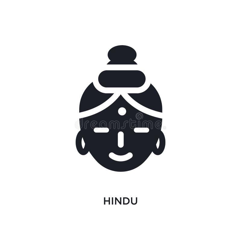 zwart Hindoes geïsoleerd vectorpictogram eenvoudige elementenillustratie van de vectorpictogrammen van het godsdienstconcept Hind royalty-vrije illustratie