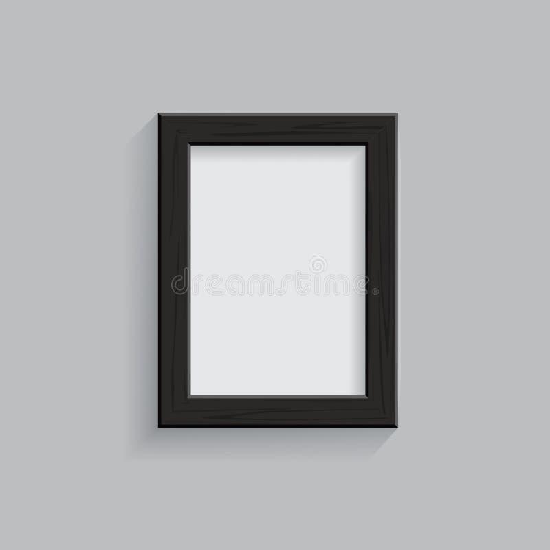 Zwart houten die beeld of fotokader op grijze achtergrond wordt geïsoleerd Vector illustratie royalty-vrije illustratie