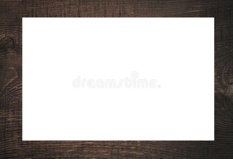 Zwart houten kader, aanplakbord of witte horizontale rechthoek royalty-vrije stock foto's