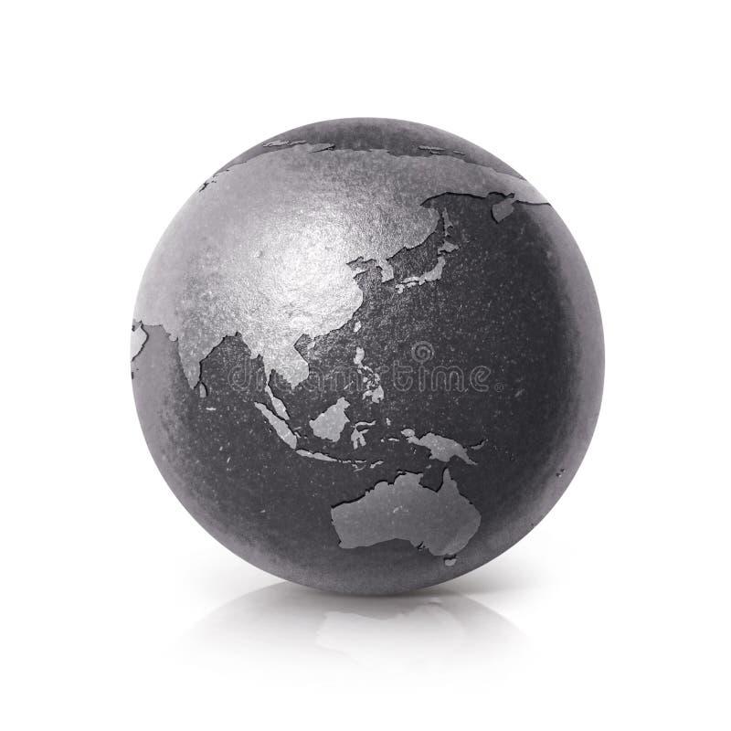 Zwart ijzer Azië & van de de wereldkaart van Australië 3D illustratie stock illustratie