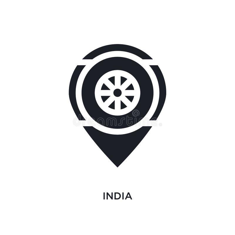 zwart India geïsoleerd vectorpictogram eenvoudige elementenillustratie van de vectorpictogrammen van het godsdienstconcept editab royalty-vrije illustratie