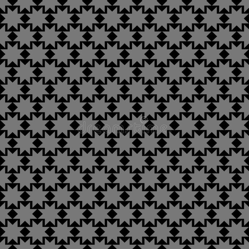 Zwart Islamitisch ornament met sterren stock illustratie