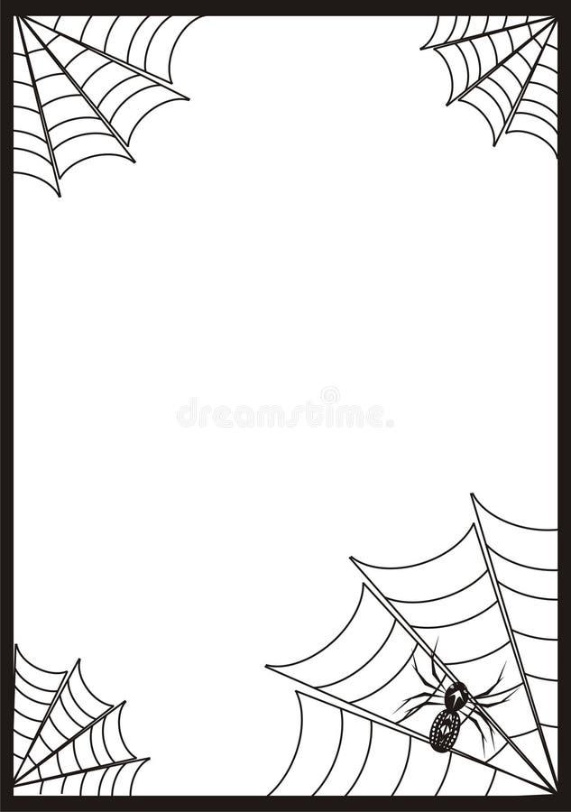 Zwart kader, grens met drie spinnen en Web vector illustratie