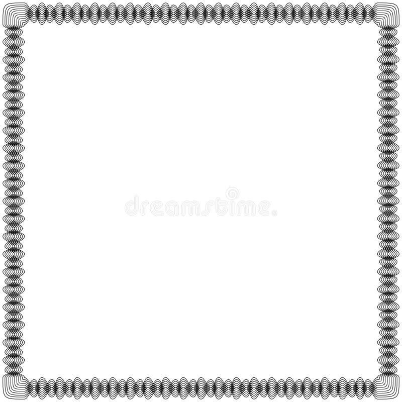 Zwart kader met wervelingslijnen royalty-vrije illustratie