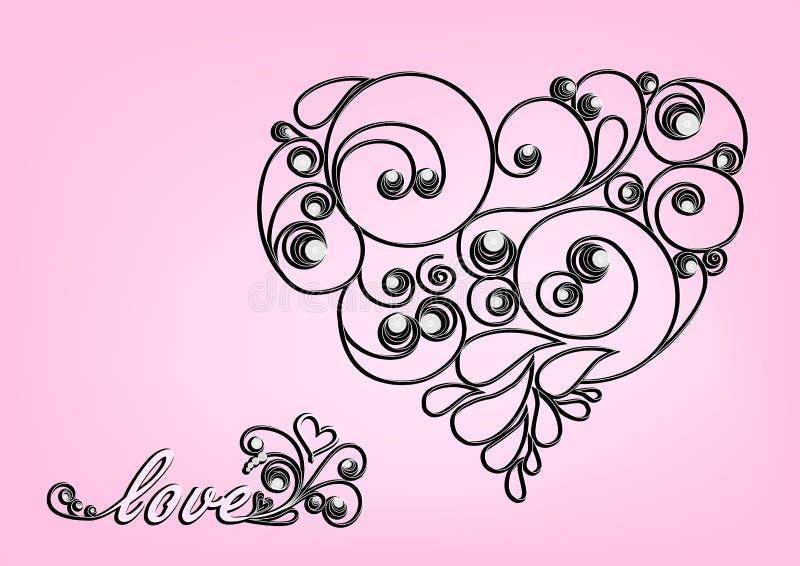 Zwart kalligrafisch hart en liefdewoord op de roze achtergrond vector illustratie