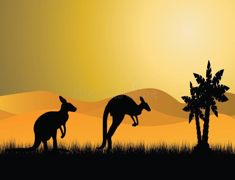 Zwart kangoeroesilhouet vector illustratie
