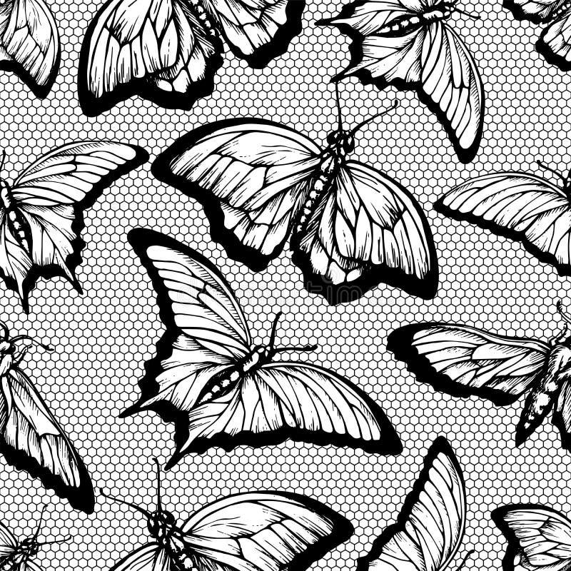 Zwart kant naadloos patroon met vlinders en rooster op witte achtergrond stock illustratie