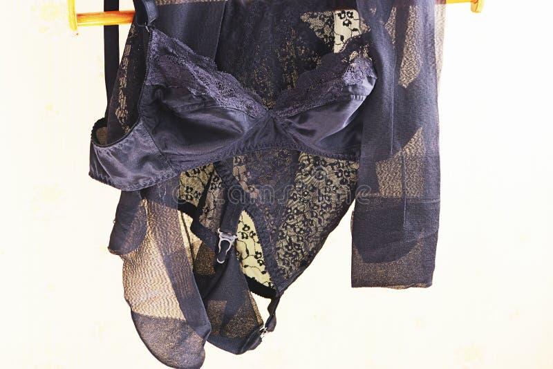 Zwart kantondergoed stock afbeeldingen