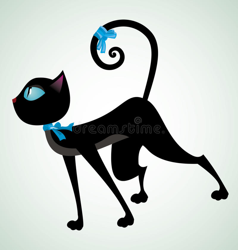 Zwart-kat-met-blauw-lint vector illustratie