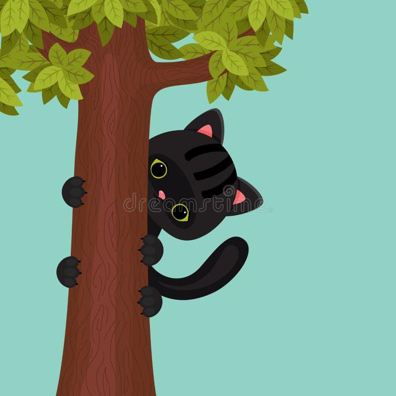 Zwart katje op een boom stock illustratie