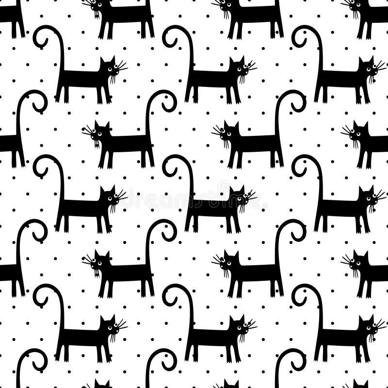 Zwart katten naadloos patroon op stippenachtergrond stock illustratie