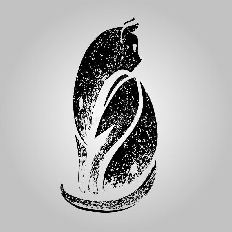 Zwart kattensilhouet gestileerd vector illustratie