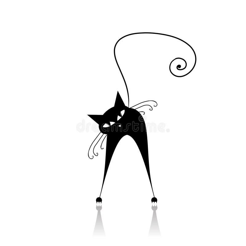 Zwart kattensilhouet voor uw ontwerp stock illustratie