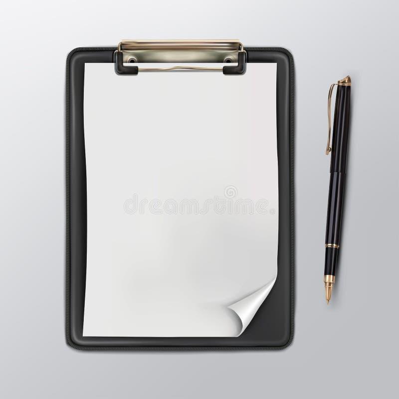 Zwart klembord met een wit leeg blad van document en ballpoint stock illustratie
