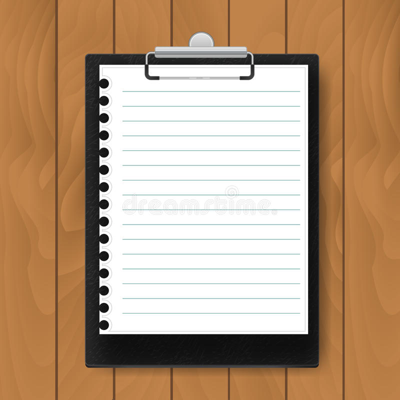Zwart Klembord met gevoerd document op houten achtergrond Model Vector bedrijfsmalplaatje royalty-vrije illustratie