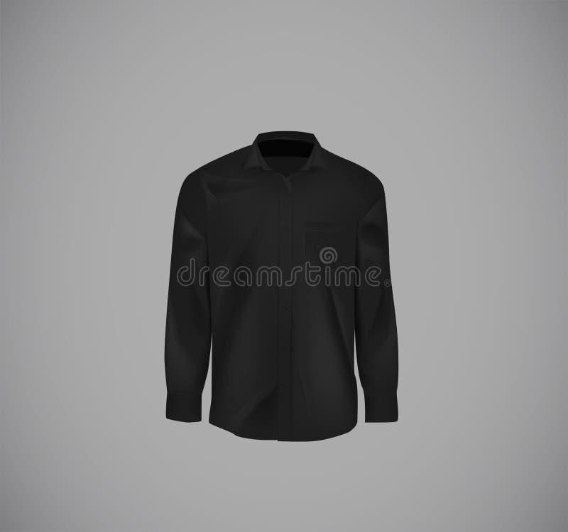 Zwart kleuren formeel overhemd Leeg overhemd met knopen stock afbeelding