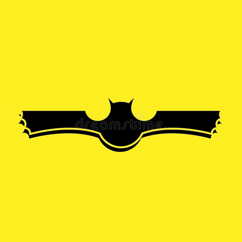 Zwart knuppelembleem met gele vector als achtergrond stock illustratie