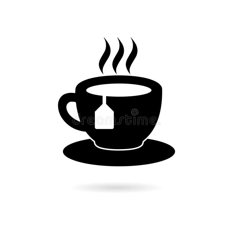 Zwart Koffie of Theekoppictogram of embleem royalty-vrije illustratie