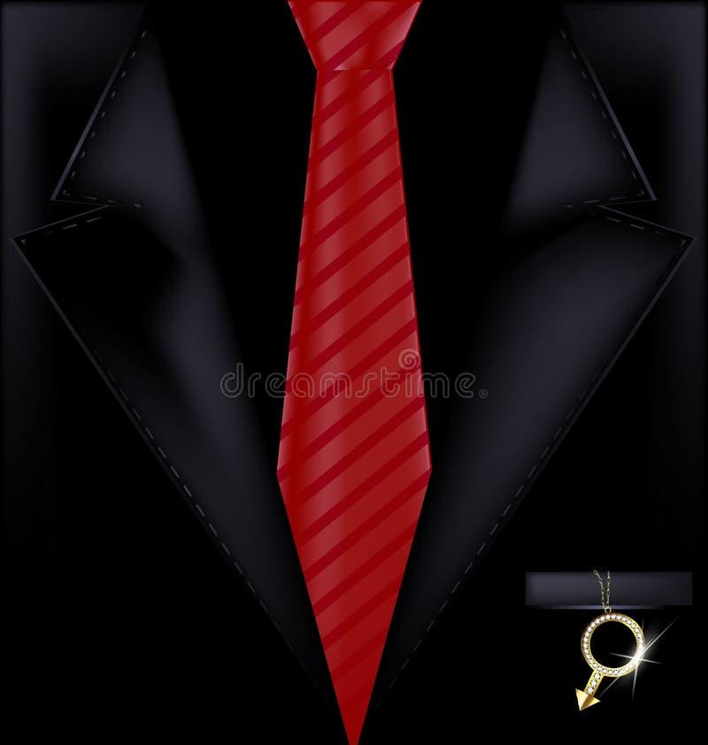 Zwart kostuum en juweel stock illustratie