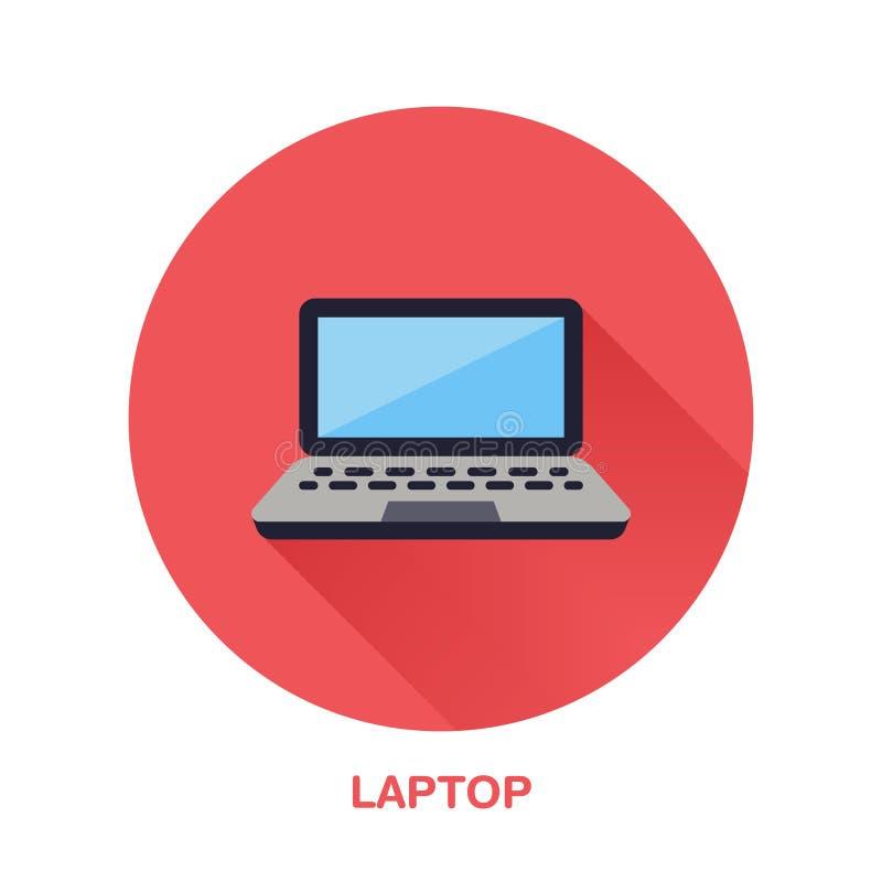 Zwart laptop notitieboekje met het lege pictogram van de het scherm vlakke stijl Draadloze technologie, draagbaar computerteken V royalty-vrije illustratie
