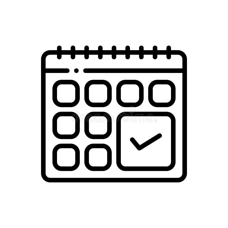 Zwart lijnpictogram voor Aanhankelijkheid, naleving en overeenstemming vector illustratie
