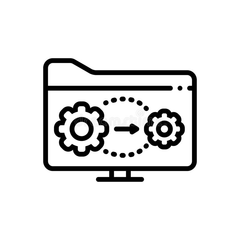 Zwart lijnpictogram voor Actief, folder en proces vector illustratie