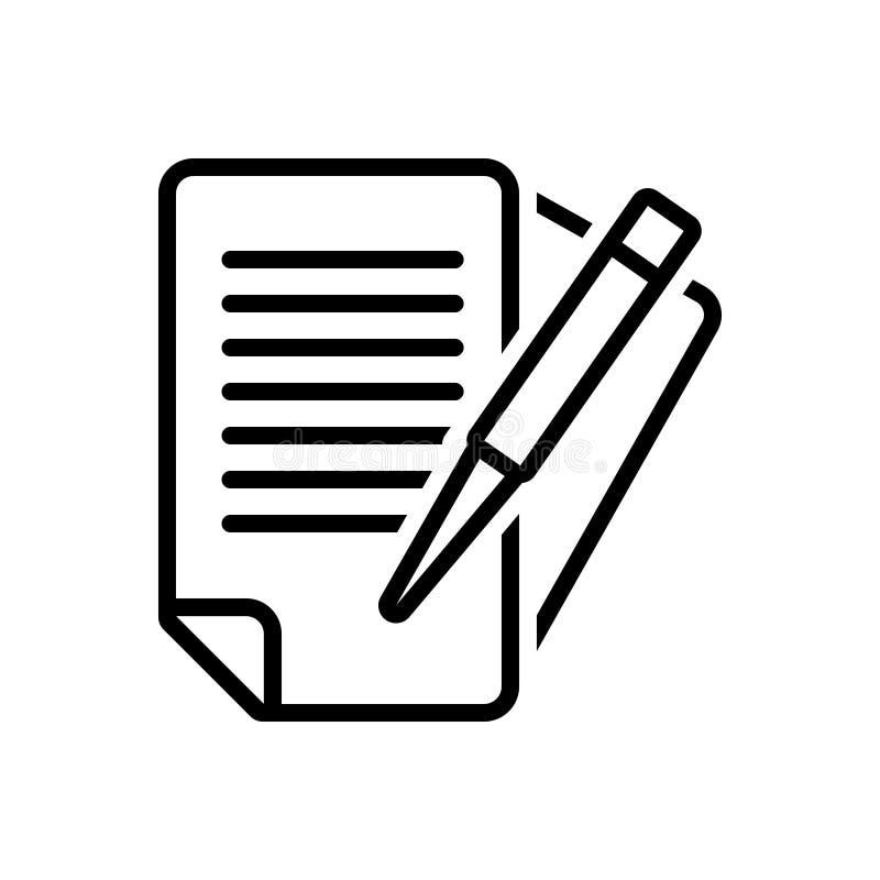 Zwart lijnpictogram voor Administratie, bureaucratie en onderwijs vector illustratie