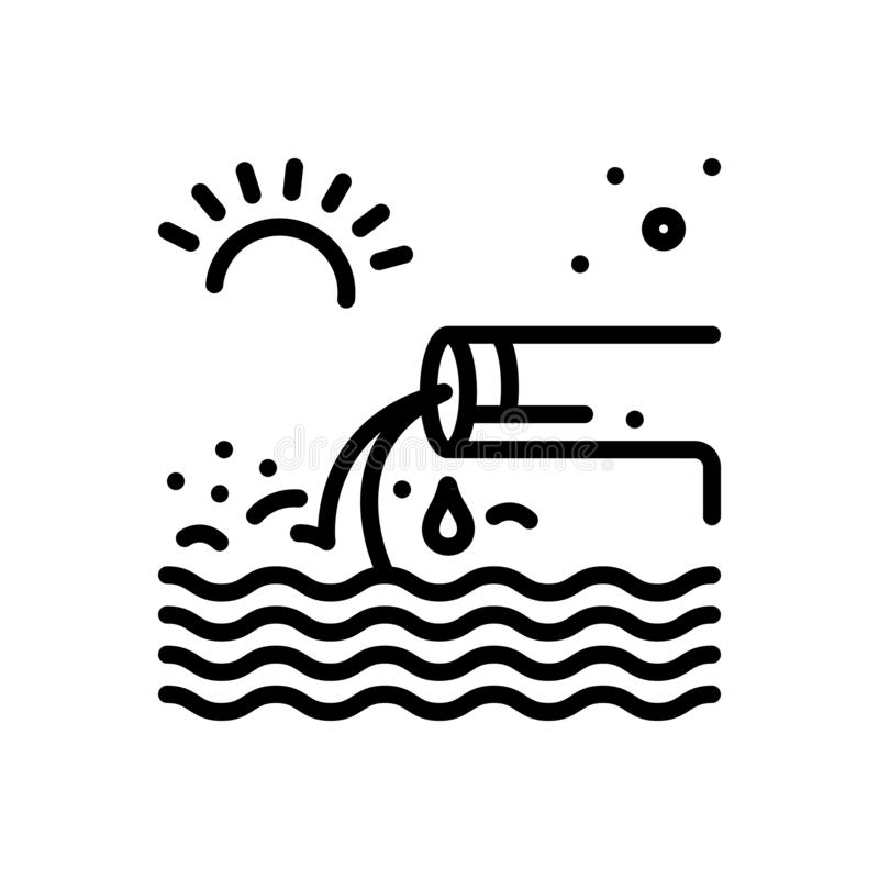 Zwart lijnpictogram voor Aftakking, stroom en stroom royalty-vrije illustratie
