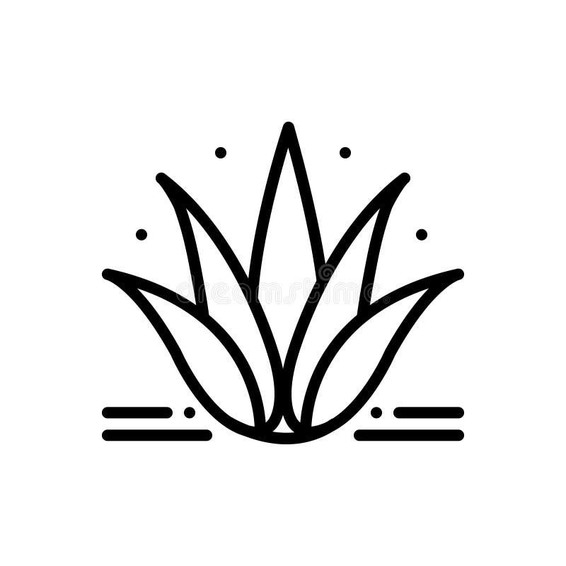 Zwart lijnpictogram voor Agave, installatie en cactus stock illustratie