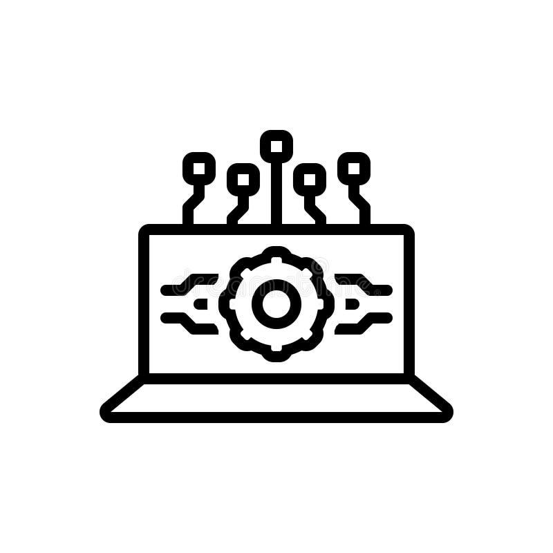 Zwart lijnpictogram voor Api Interface, software en gegevensverwerking stock illustratie