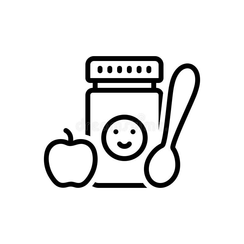 Zwart lijnpictogram voor Babyvoedsel, eetbaar en maaltijd stock illustratie
