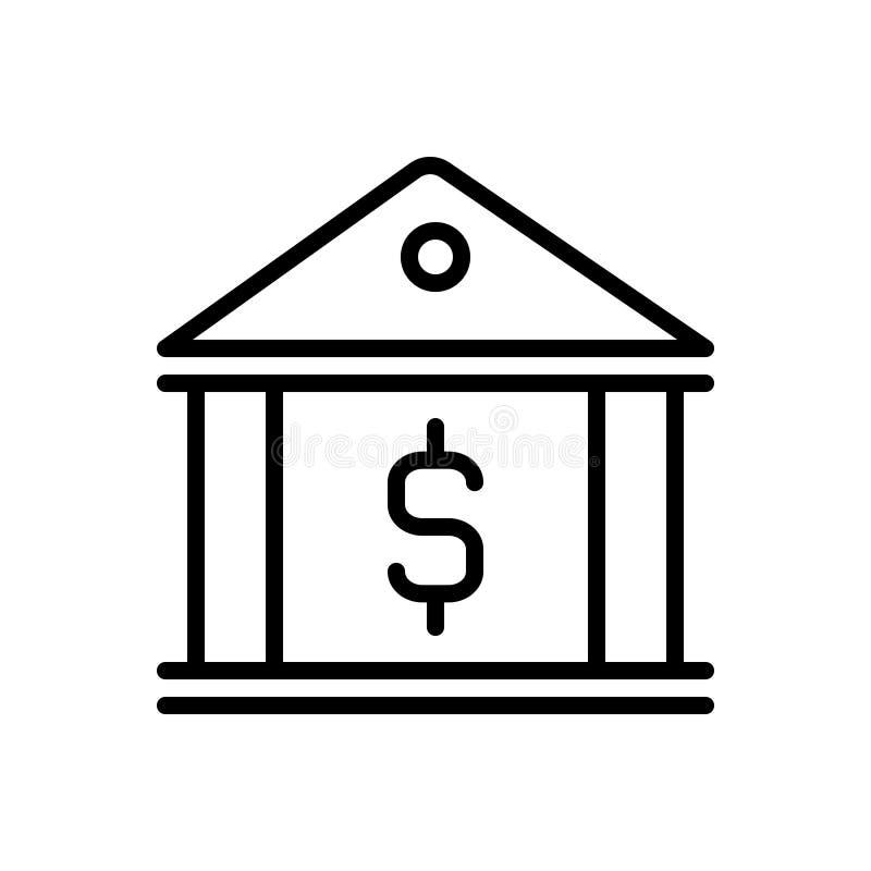 Zwart lijnpictogram voor Bankwezen, investering en geld vector illustratie