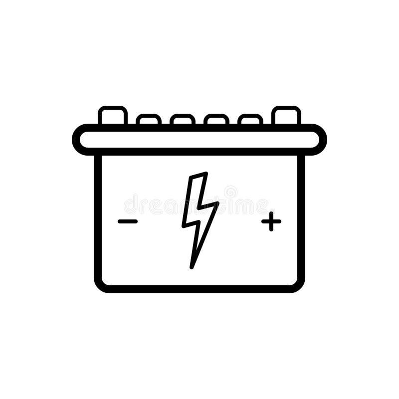 Zwart lijnpictogram voor Batterij, navulbaar en energie vector illustratie