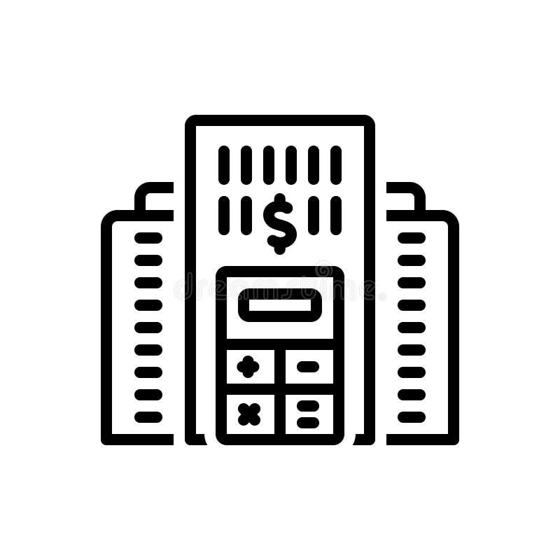 Zwart lijnpictogram voor Bedrijfbegroting, boekhouding en begroting royalty-vrije illustratie