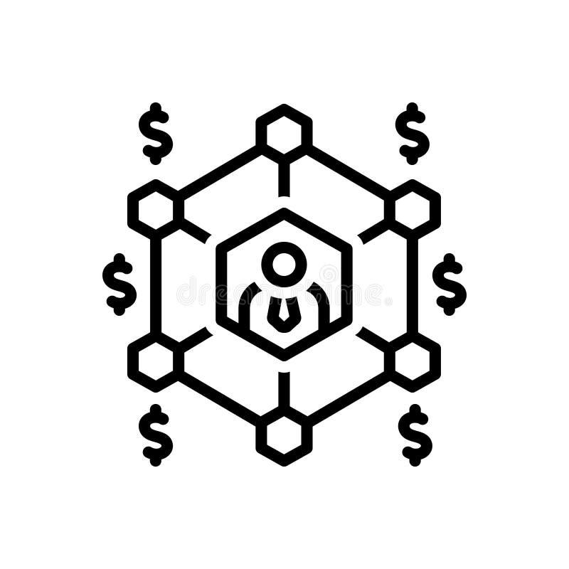 Zwart lijnpictogram voor Bedrijfsnetwerk, netwerk en net vector illustratie