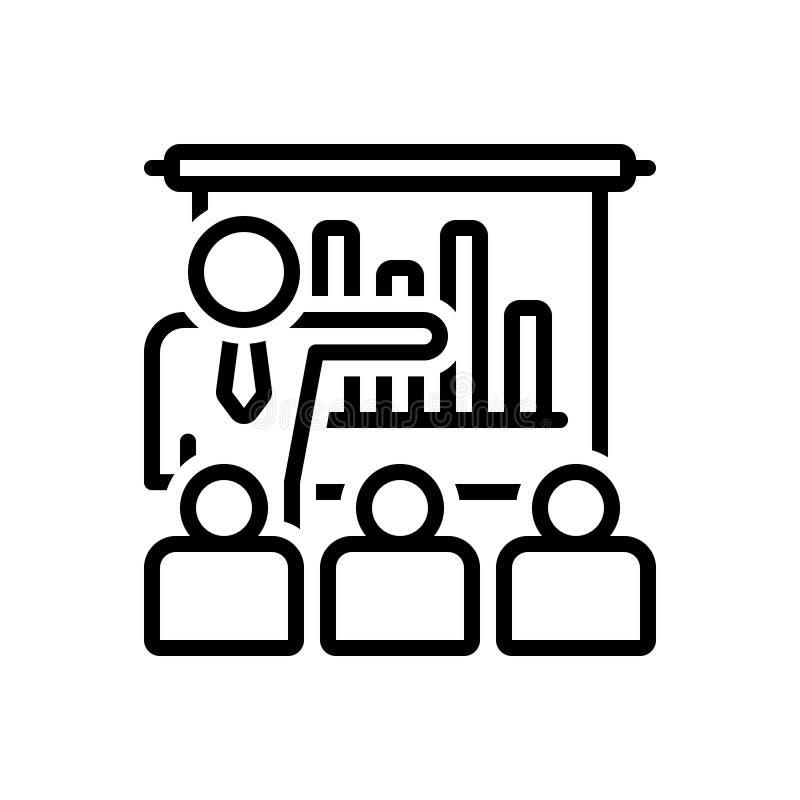 Zwart lijnpictogram voor Bedrijfspresentatie met Grafische Bars, demonstratie en workshop vector illustratie