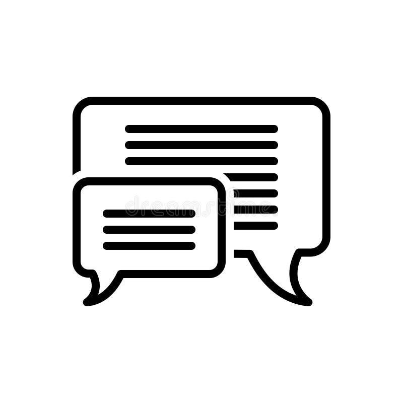 Zwart lijnpictogram voor Berichtbellen, mededeling en praatje vector illustratie