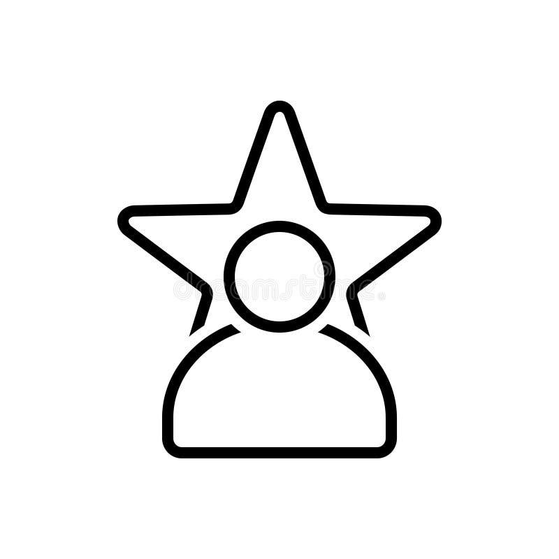 Zwart lijnpictogram voor Beroemdheid, populariteit en bekendheid royalty-vrije illustratie