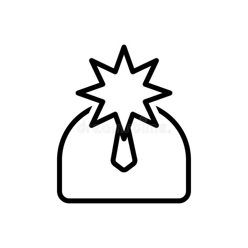 Zwart lijnpictogram voor Beroemdheid, reputatie en bekendheid vector illustratie