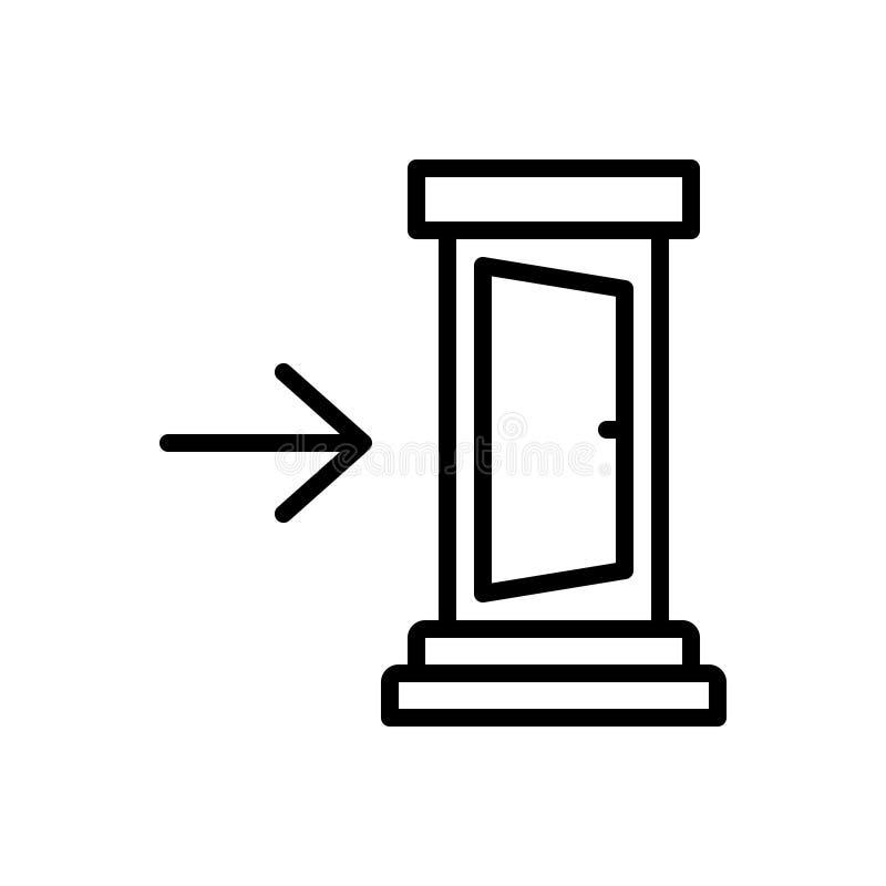Zwart lijnpictogram voor in, binnen en binnen vector illustratie