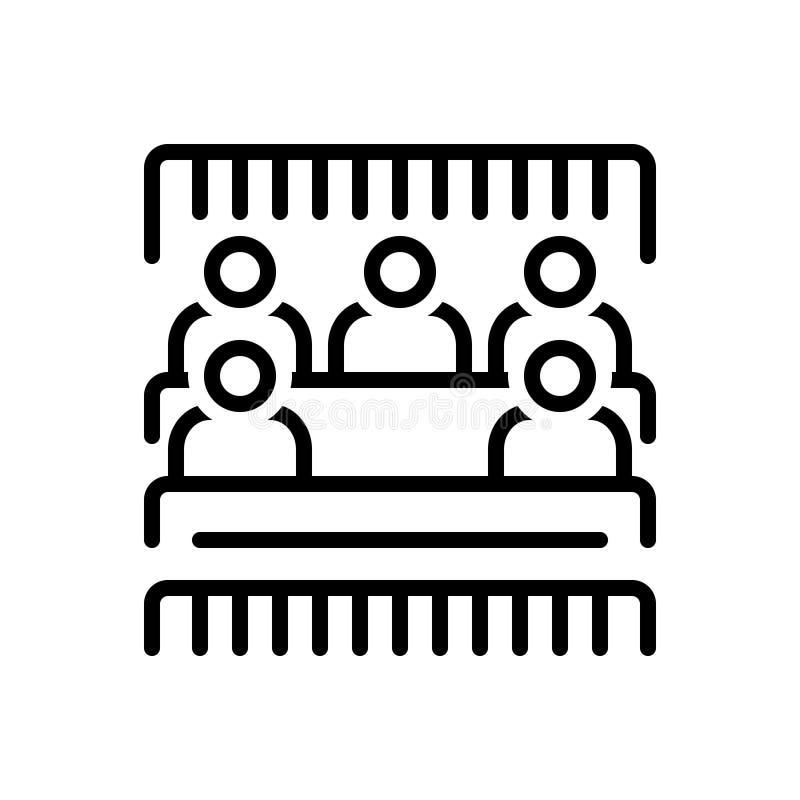 Zwart lijnpictogram voor Bleacher, mensen en stadion vector illustratie