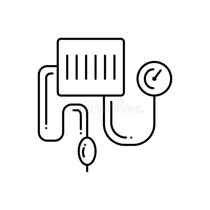 Zwart lijnpictogram voor bloeddrukuitrusting, controle en medisch stock illustratie