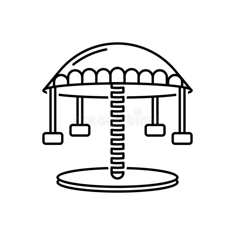 Zwart lijnpictogram voor Carrousel, pretpark en markt royalty-vrije illustratie
